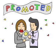 Cartoon woman salary man promote Royalty Free Stock Photography
