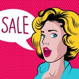 Cartoon woman with sale banner Stock Images