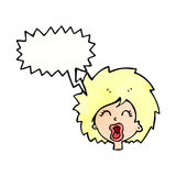 Cartoon woman screaming with speech bubble Royalty Free Stock Photography