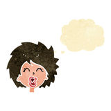 cartoon woman screaming with thought bubble Royalty Free Stock Photos