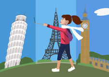 Cartoon woman with selfie stick walking against europe attractio Royalty Free Stock Photo