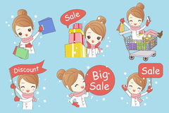 Cartoon woman shopping in christmas vector illustration
