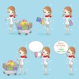Cartoon woman shopping in winter Royalty Free Stock Photos