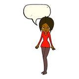 Cartoon woman in short dress with speech bubble Stock Photo
