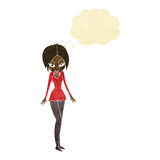 Cartoon woman in short dress with thought bubble Stock Image