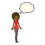 Cartoon woman in short dress with thought bubble Stock Images