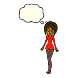 Cartoon woman in short dress with thought bubble Royalty Free Stock Photos