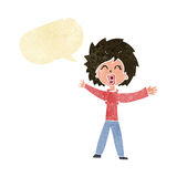 Cartoon woman shouting with speech bubble Stock Photo