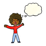 Cartoon woman shouting with thought bubble Royalty Free Stock Image