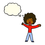 Cartoon woman shouting with thought bubble Stock Images
