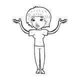 Cartoon woman shruggin shoulders Stock Photography