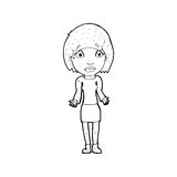 Cartoon woman shrugging shoulders. Black and White Line cartoon in retro style.  Vector available Stock Images