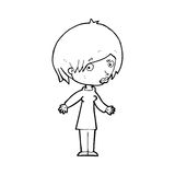 Cartoon woman shrugging shoulders. Black and White Line cartoon in retro style.  Vector available Stock Photography