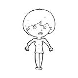 Cartoon woman shrugging shoulders. Black and White Line cartoon in retro style.  Vector available Royalty Free Stock Images