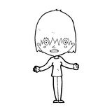 Cartoon woman shrugging shoulders. Black and White Line cartoon in retro style.  Vector available Royalty Free Stock Photos