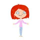 Cartoon woman shrugging shoulders Stock Photography