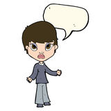 Cartoon woman shrugging shoulders with speech bubble Royalty Free Stock Photo