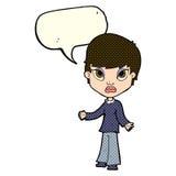 Cartoon woman shrugging shoulders with speech bubble Stock Photo