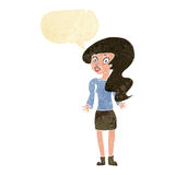 Cartoon woman shrugging shoulders with speech bubble Royalty Free Stock Photography