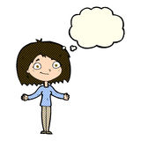 Cartoon woman shrugging shoulders with thought bubble Stock Photo