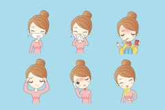Cartoon woman sick. Cartoon woman has fever caused by a variety of cold Royalty Free Stock Photography