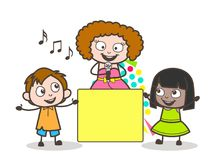 Cartoon Woman Singer Enjoying with Kids. And Showing Blank Banner Vector Royalty Free Stock Images