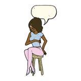 Cartoon woman sitting on bar stool with speech bubble Royalty Free Stock Photos