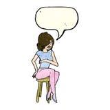 cartoon woman sitting on bar stool with speech bubble Royalty Free Stock Image