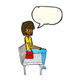 Cartoon woman sitting on bench with speech bubble Stock Image
