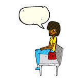 Cartoon woman sitting on bench with speech bubble Royalty Free Stock Photo