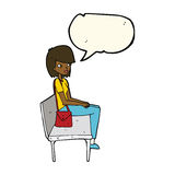 Cartoon woman sitting on bench with speech bubble Royalty Free Stock Image