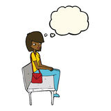 Cartoon woman sitting on bench with thought bubble Royalty Free Stock Photography