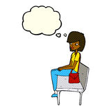 cartoon woman sitting on bench with thought bubble Royalty Free Stock Photo