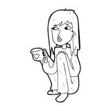 Cartoon woman sitting with cup of coffee Royalty Free Stock Images