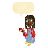 Cartoon woman sitting with cup of coffee with speech bubble Stock Images