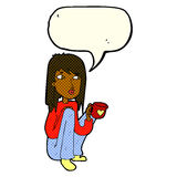 Cartoon woman sitting with cup of coffee with speech bubble Stock Image