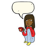 Cartoon woman sitting with cup of coffee with speech bubble Royalty Free Stock Photography