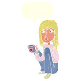 Cartoon woman sitting with cup of coffee with speech bubble Royalty Free Stock Images