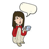 Cartoon woman sitting with cup of coffee with speech bubble Stock Photos
