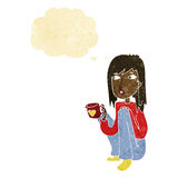 Cartoon woman sitting with cup of coffee with thought bubble Royalty Free Stock Image