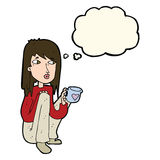 Cartoon woman sitting with cup of coffee with thought bubble Royalty Free Stock Photos