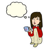 Cartoon woman sitting with cup of coffee with thought bubble Royalty Free Stock Images