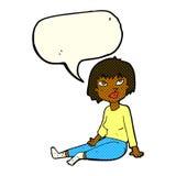 Cartoon woman sitting on floor with speech bubble Stock Image