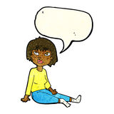Cartoon woman sitting on floor with speech bubble Royalty Free Stock Image