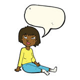 Cartoon woman sitting on floor with speech bubble Royalty Free Stock Images