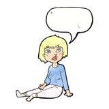 Cartoon woman sitting on floor with speech bubble Stock Photography