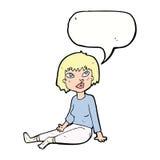 Cartoon woman sitting on floor with speech bubble Stock Photo