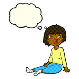 Cartoon woman sitting on floor with thought bubble Royalty Free Stock Images