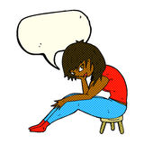 Cartoon woman sitting on small stool with speech bubble Royalty Free Stock Photography