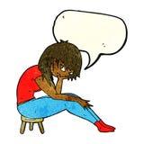Cartoon woman sitting on small stool with speech bubble Stock Photos